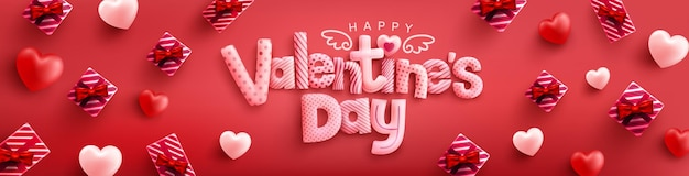 Happy valentine's day panoramic banner