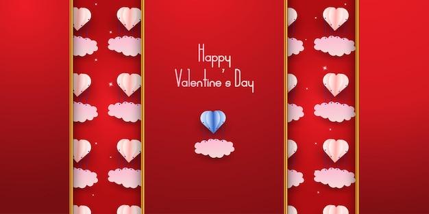 Happy valentine's day paper art, golden style