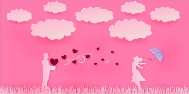 Happy valentine's day paper art style