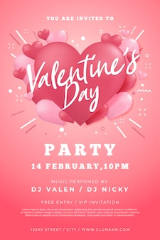Happy valentine's day party flyer.