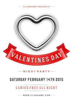 Шаблон дизайна плаката вечеринки с днем святого валентина