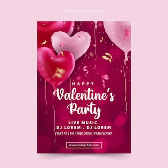 Happy valentine's day party poster with bokeh background