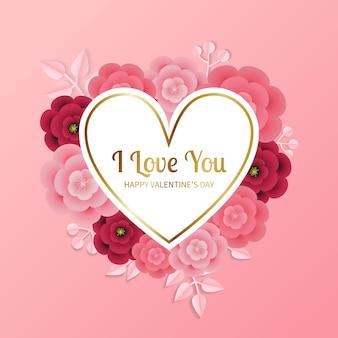 해피 발렌타인 핑크 인사말 심장 모양의 메모와 종이 스타일 꽃으로 장식. 현실적인 꽃과 잎.