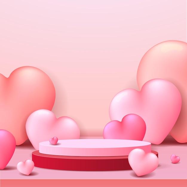 해피 발렌타인 데이 연단 디스플레이.
