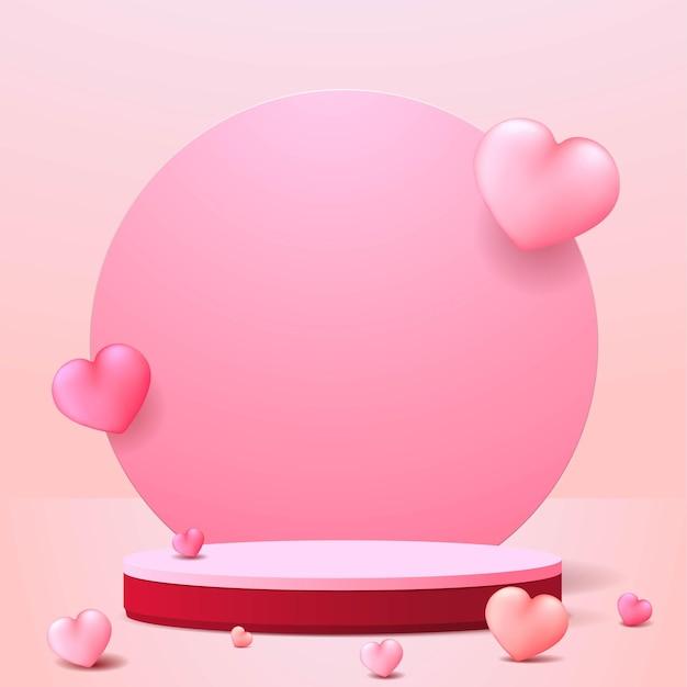 幸せなバレンタインデーの表彰台のディスプレイ。