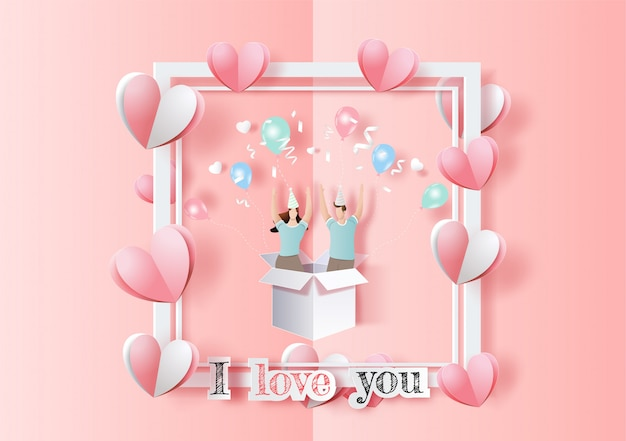Happy valentine's day, pop up card, cute couple in love hands raised and have fun in party.