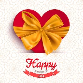 Открытка с днем святого валентина с сердечком и декоративным бантом