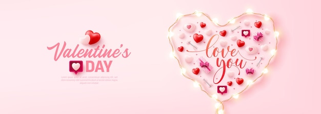 Happy valentine's day poster or banner with symbol of heart from led string lights and valentine elements on pink