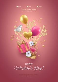 Happy valentine's day poster. romantic composition with flying birdcage, gift box, porcelain bird and golden tree branch