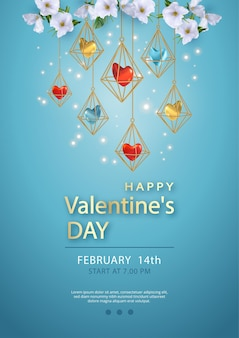 Happy valentine's day poster with hanging cages with heart inside, and white flowers