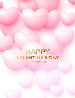Happy valentine's day poster with pink and white flying balloons with golden lettering