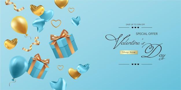 С днем святого валентина реалистичный баннер с падающей подарочной коробкой, сердечками и цветами