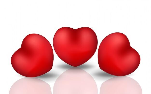幸せなバレンタインデーの現実的な心。反射で白い背景に赤いハート。図。