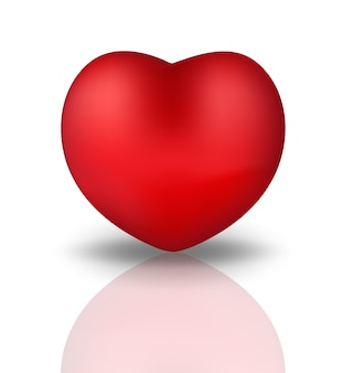 Happy valentine s day realistic  heart. red heart  on white background with reflection.  illustration.
