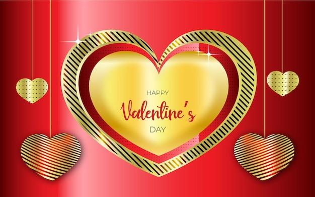 幸せなバレンタインデーの現実的な甘い心、星、赤い旗または背景