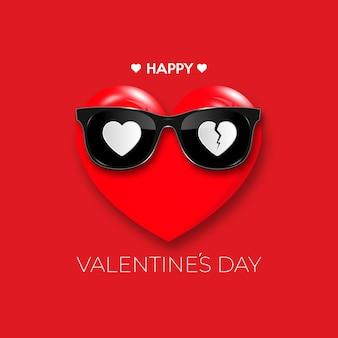 Happy valentine's day. red heart in black hipster glasses.