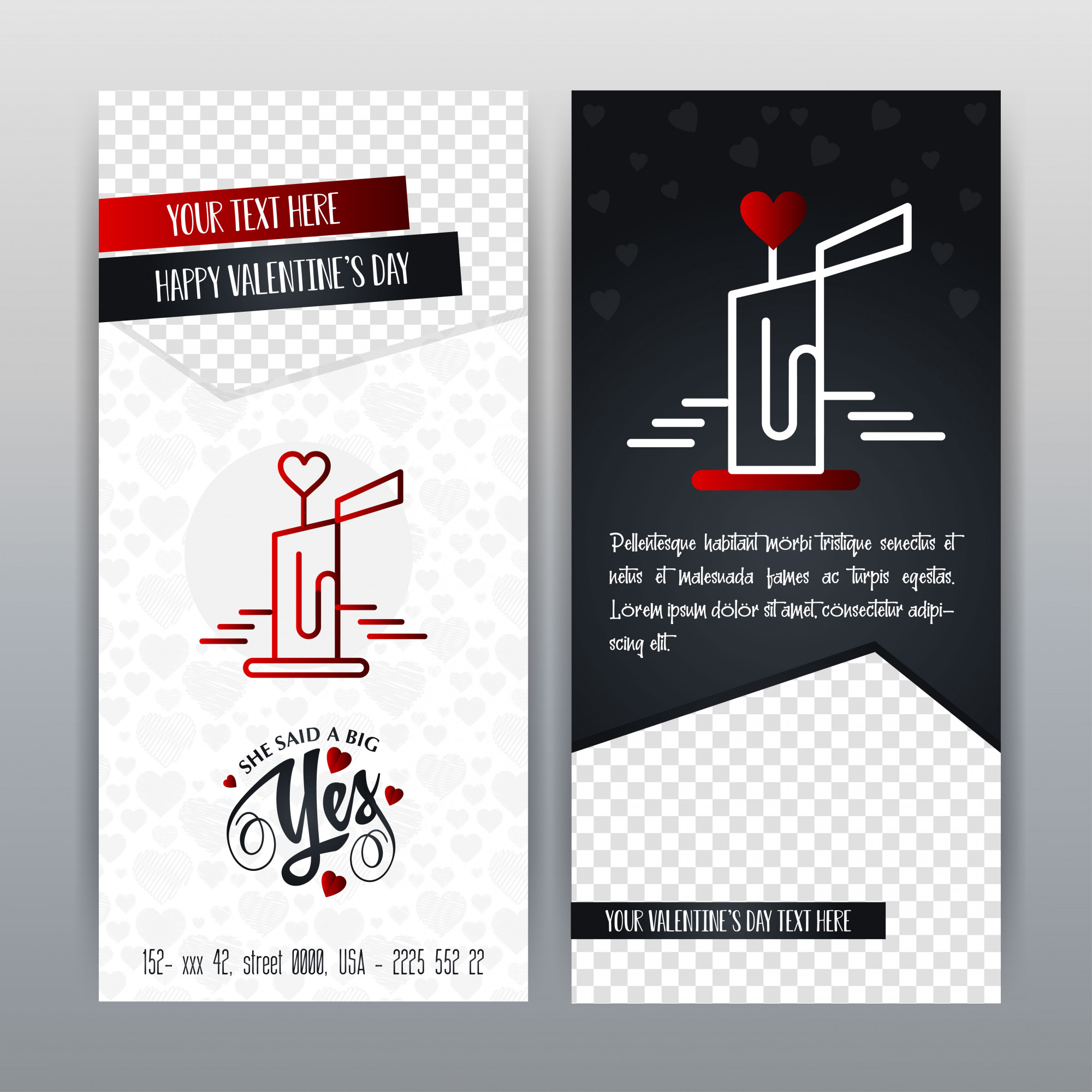 Happy Valentine's Day Red Icon Vertical Banner. Vector illustration