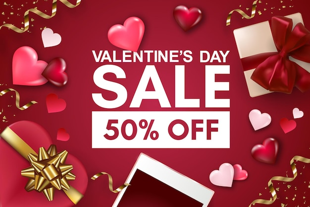 Happy valentine's day sale banner or background with smartphone, gift box, hearts and bows.