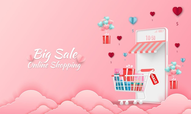 Happy valentine's day  sale banner. online shopping store with mobile , credit cards and shop elements.