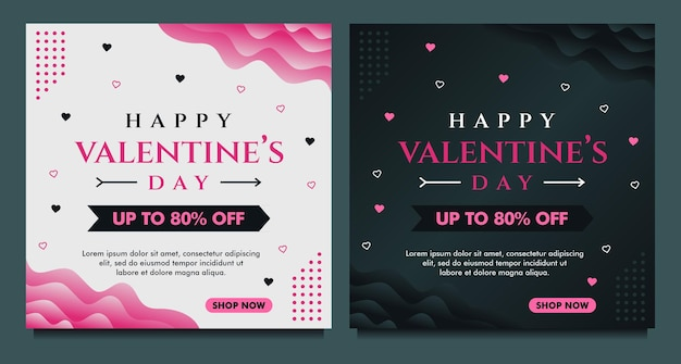 Happy valentine's day sale banner, social media post template with dark and grey background
