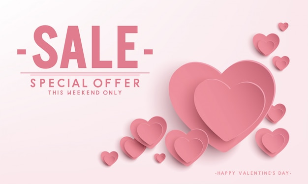 Happy valentine's day sale banner vector design