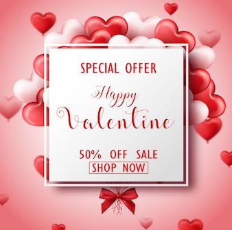 ハッピーバレンタインデーの販売バナーピンクと赤の心、