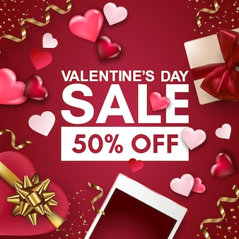 Happy valentine's day sale banner with smartphone, gift box, hearts and bows.
