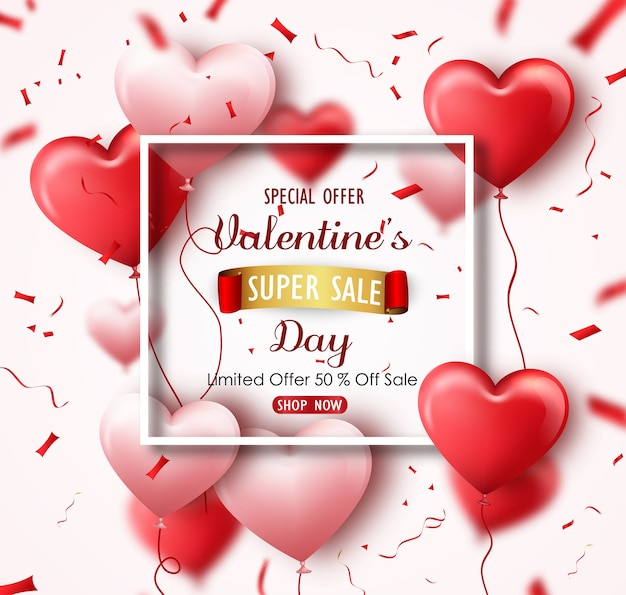 Happy valentine's day sale banner