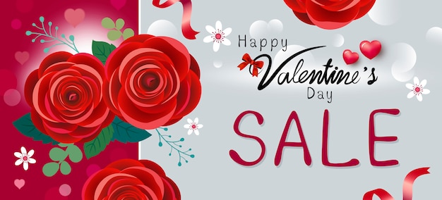 Happy valentine's day sale design of red rose flowers