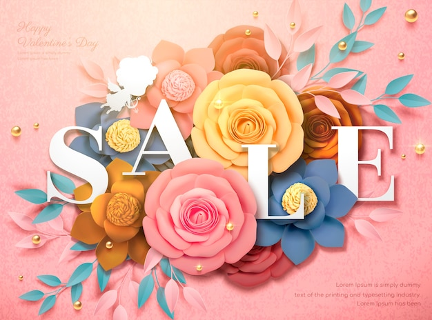 Happy valentine's day sale design with colorful paper flowers in 3d illustration