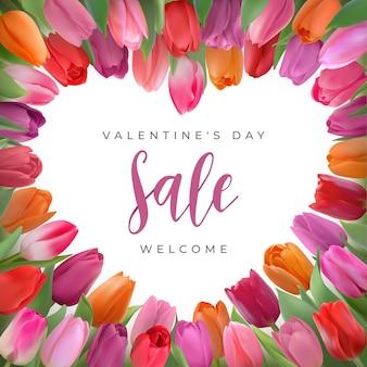 色とりどりの写実的なチューリップを使ったハッピーバレンタインデーセールのデザイン。ハートはテキストの場所で多くの繊細な花を形作ります