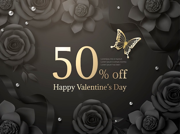 Happy valentine's day sale with black paper roses and ribbon in 3d illustration
