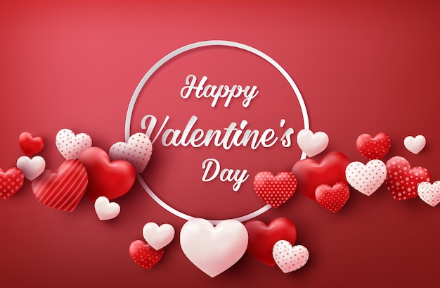 Happy valentine's day sale with hearts balloons