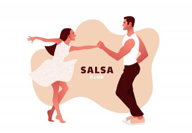 Happy valentine's day. salsa in the city. street dancing. beautiful couple dancing. people in love.