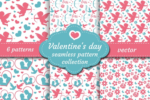 Happy valentine s day seamless pattern set. collection cute romantic love endless background. cupid, heart, flowers, couple repeating texture.  illustration.