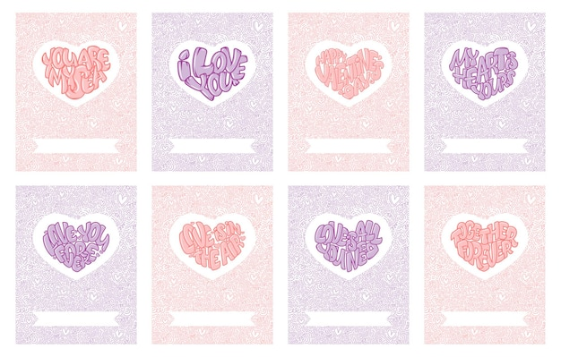 Happy valentine's day. set of beautiful greeting cards with hearts and lettering.