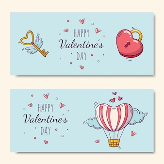Happy valentine's day set with air balloon and heart shaped lock and flying key in doodle style