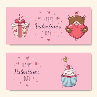 Happy valentine's day set with cupcake decorated with arrow and teddy bear and gift box in doodle style