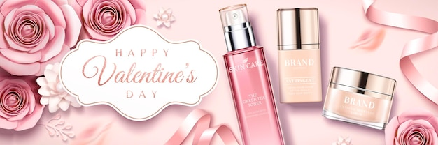 Happy valentine's day skincare products banner with paper roses and ribbons  , top view