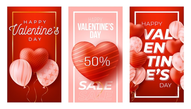 Happy valentine's day social media vertical banners set.