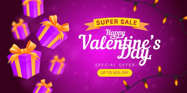 Happy valentine's day special offer horizontal flyer template or advertising super sale banner.