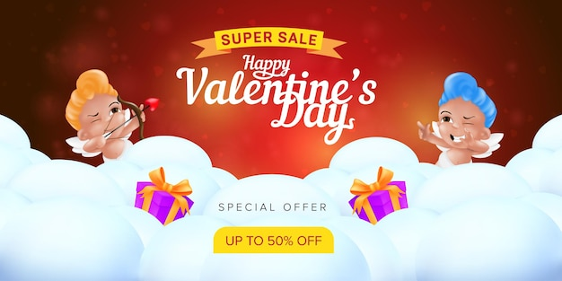 Happy valentine's day special offer landing page template or super sale promotion banner.