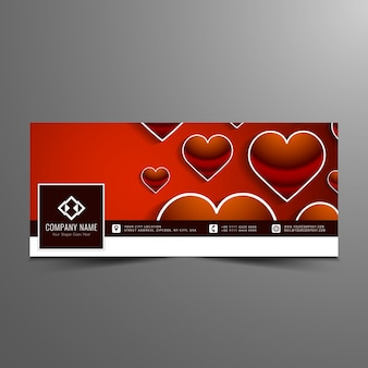 Happy valentine's day stylish facebook timeline banner template