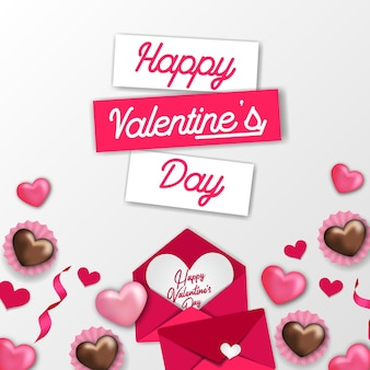 Сладкий шаблон с днем святого валентина с розовым украшением в виде сердечка и конвертом с любовным письмом и шоколадом с белым фоном