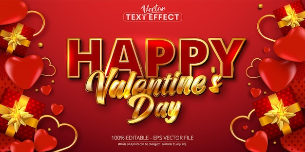 Happy valentine's day text, editable text effect on red background