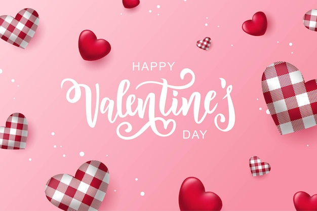 Happy valentine's day text, hand lettering typography card design with hearts.