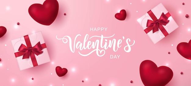 해피 발렌타인 텍스트, 분홍색 배경에 손 글자 인쇄 술.
