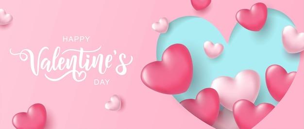 幸せなバレンタインデーのテキスト、3dハートとピンクのグラデーションの背景に手書きのタイポグラフィ。