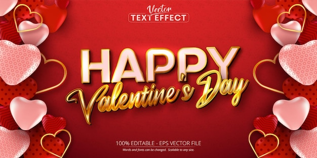 Happy valentine's day text, shiny gold color style editable text effect on red background