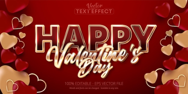Happy valentine's day text, shiny rose gold color style editable text effect on red background